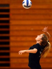 Peyton Sper, an outside hitter for the Westlake High varsity girls volleyball team, practices on campus Wednesday. Sper is a key player for the Marmonte League champion Warriors, who will begin CIF-Southern Section play Thursday.