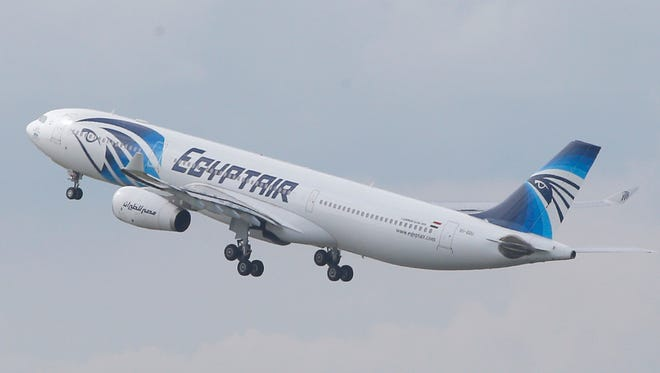 In this May 19, 2016 file photo, an EgyptAir Airbus A330-300 takes off for Cairo from Charles de Gaulle Airport outside of Paris.