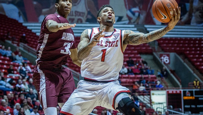 Ball State's Naiel Smith shoots past Alabama A&M's defense during their game at Worthen Arena Tuesday, Dec. 29, 2015.