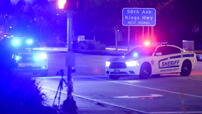 "Indian River County Sheriff's Officers investigate a fatal shooting leaving one man dead Thursday, Nov. 16, 2017, at the 5300 block of SR60 in Vero Beach. The Sheriff's Office are calling it a ""road rage incident."""