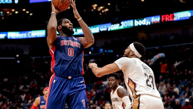 Pistons center Andre Drummond (0) shoots as Pelicans forward Anthony Davis (23) defends during the first quarter on Monday, Jan. 8, 2018, in New Orleans.