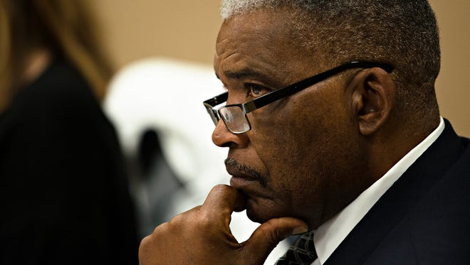 Robert Porterfield, MCBOE president, looks on during a meeting held by the Montgomery County Board of Education on Friday, Jan. 12, 2018 to interview interim superintendent candidates, in Montgomery, Ala. Larry DiChiara, former Phenix City Schools superintendent and head of state intervention into Selma City Schools, and Ann Moore, former Huntsville City Schools superintendent, were interviewed for the interim superintendent position.