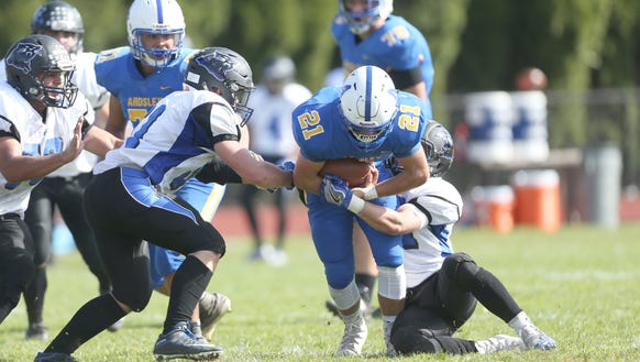 Ardsley's Brett Loccisano (21) gets the carry during