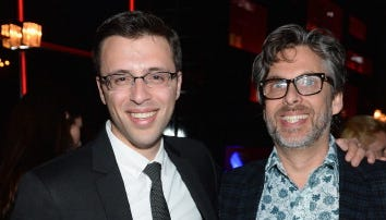 """Journalist Ezra Klein, left, and author Michael Chabon attend a """"New Yorker"""" event associated with the White House Correspondents' dinner in April."""