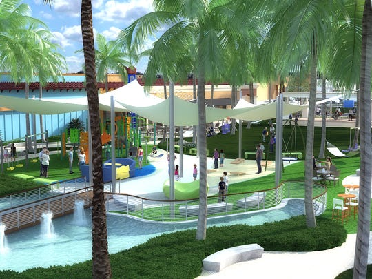 A rendering of what Gulf Coast Town Center will look like after renovations in 2018.  WGI, a renowned landscape architecture firm headquartered in South Florida will help the center transform to look experiential, family-friendly and include modern and provocative features.