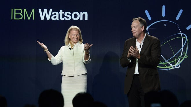 IBM CEO Ginni Rometty and Senior Vice President Mike Rhodin open IBM's new global Watson headquarters in Silicon Alley, the home for next generation computing systems that learn, on Oct. 8, 2014, in New York City.