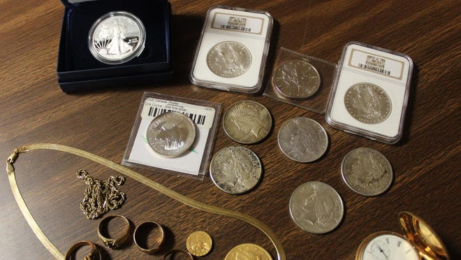 A view of some of the gold and silver items brought in to the Lincoln Treasure Hunters event.