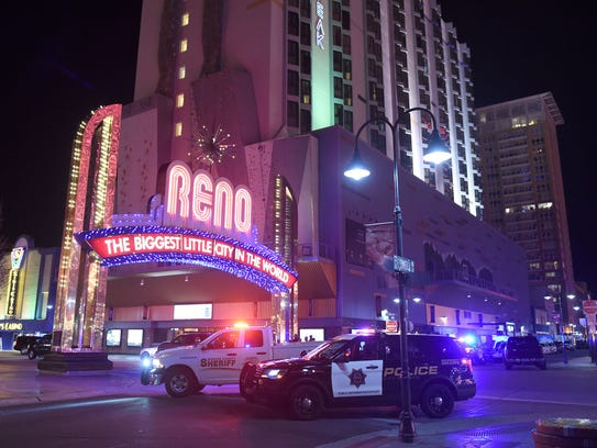 Police close off the downtown streets due to an active shooter at The Montage on Tuesday evening Nov. 28, 2017. The Montage is the building on the far right.