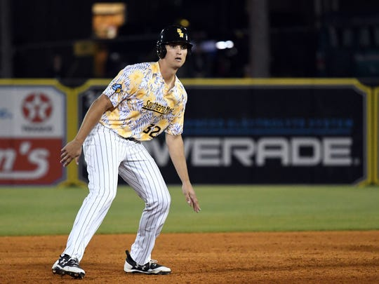 Southern Miss sophomore Matt Wallner waits by second