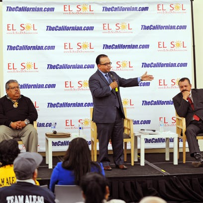 Assemblymember Luis Alejo answers a question from the