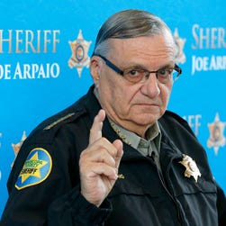Sheriff Joe Arpaio  answers a question at a news conference at Maricopa County Sheriff's Office Headquarters in Phoenix.