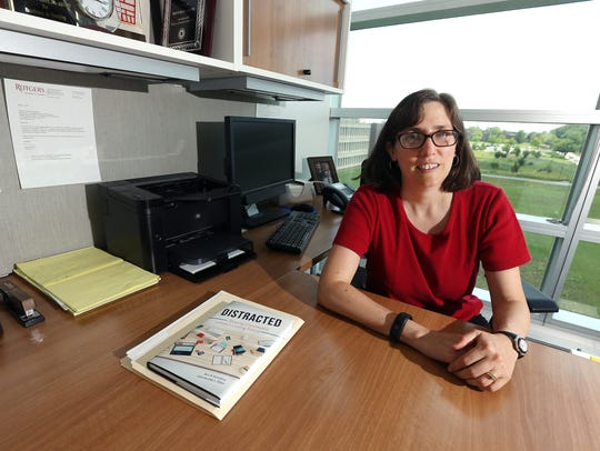 Rutgers professor Terri Kurtzberg in her office on
