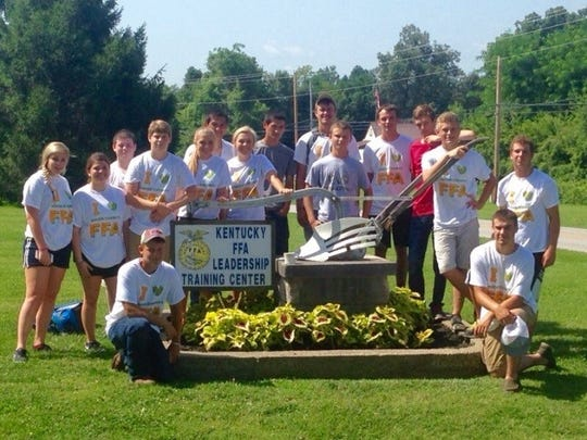 FFA members at camp at the Kentucky leadership training center this summer.  Pictured Left to Right. Marissa Nelson, Erin Wallace, Brandon Lovell, Ethan Wallace, Cassidy Hagan, Zancy Greenwell, Isabel Maloney, Zedric Greenwell, William Ratley, Billy Zane Pride, Mason Weldon, Kyle Shirel, Dalton French, Christopher Hagedorn, Front: Tyler Fuesler, Tyler Wilson