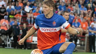 Harrison Delbridge settles the ball for FC Cincinnati.  FC Cincinnati takes on Orlando City B with a possible home playoff game on the line for Cincinnati.  Match was played on Saturday night, September 17, 2016 at Nippert Stadium.