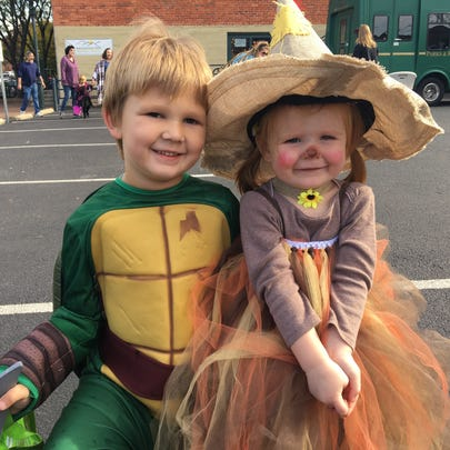 Grottoes residents Easton Puffenbarger, 5, and Layna