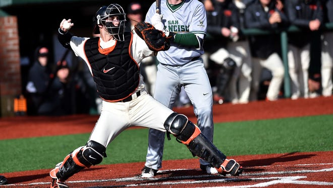 OSU catcher Logan Ice was named Pac-12 Defensive Player of the Year in 2016.
