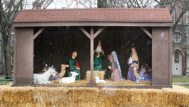The Nativity scene that is placed in Wisner Park annually, shown in December 2011, burned down early Tuesday. The holiday staple in Elmira was at least 50 years old.