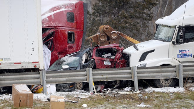 Emergency crews on the scene of a multiple-vehicle  pileup on Interstate-96 between Webberville and Fowlerville Thursday, Dec. 8, 2016.
