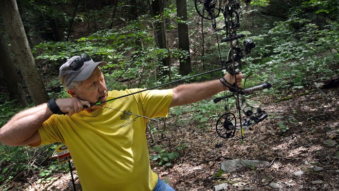 Hunter Terry Wills of Emigsville takes aim at a target while preparing for a past archery season with a 3-D shoot at York Archers in Lower Windsor Township. The 2021 archery deer season is almost upon us.