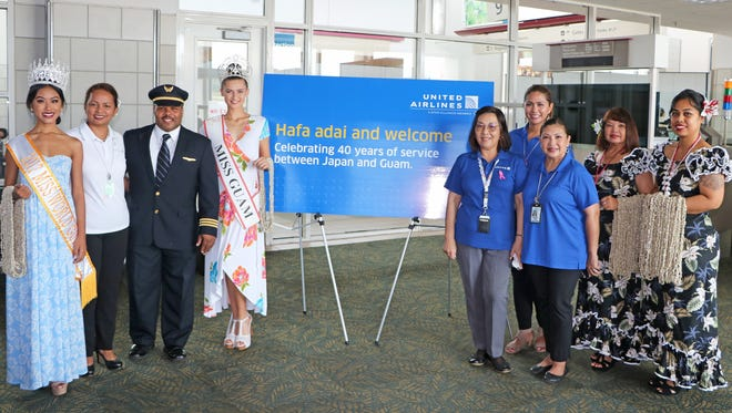 United Airlines celebrated 40 years of service between Guam and Japan on Oct. 1  at the Antonio B. Won Pat International Airport on Guam. From left: Destiny Cruz, Miss World Guam 2017; Paula Monk, senior manager sales – Guam and Micronesia; Capt. Errol Lee, United flight manager – first officer; Emma Sheedy, Miss Earth Guam 2017; Shuan Lloyd, United supervisor airport operations; Jennifer De Rosas, United account manager – sales Guam and Micronesia; Marissa del Rosario Tinsay, United account manager – sales Guam and Micronesia; Julie Fejarang-LeBreton, airport ambassador; and Sylvia Perez Press, airport ambassador.