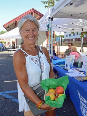 Nancy Boone, Ramsey Farmers' Market Director, at the Ramsey Peach Festival on 8/7/16