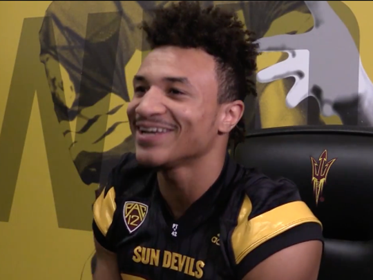 ASU sophomore Chase Lucas talks to the media before