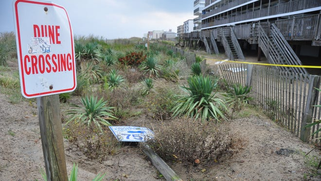 The dune in Ocean City is at the center of a flood map dispute between the resort and the Federal Emergency Management Agency.