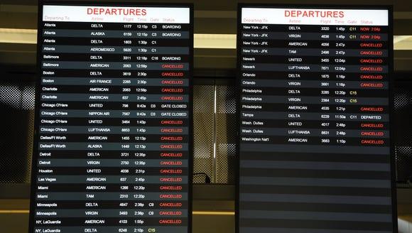 Monitors at Raleigh-Durham International Airport show