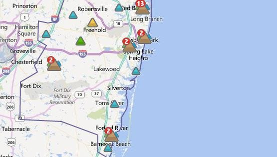 A computer-generated map from Jersey Central Power & Light showing the location of power outages in Monmouth and Ocean counties late Friday night.