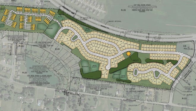 Plans for Patterson Farms include 146 single-family homes and 60 townhomes on 65.19 acres off of Clear Lakes Meadows Boulevard near S.R. 109 in Gallatin.