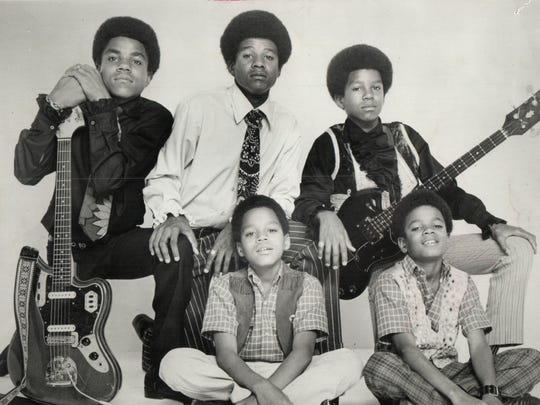 The Jackson 5 early in their Motown career: (rear, left to right) Tito, Jackie, Jermaine; (front) Marlon, left, and Michael, right.