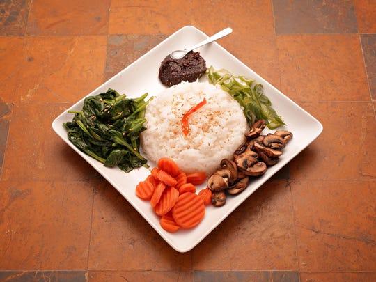 Korean Gochujang with rice and greens.
