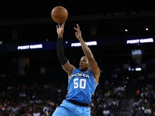 Power's Corey Maggette takes a shot against Tri-State during Week 3 of the BIG3 basketball league game at ORACLE Arena on Friday, July 6, 2018 in Oakland, Calif.