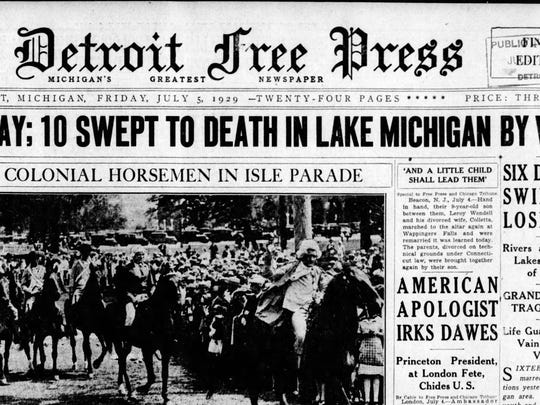 """The July 5, 1929, front page of the Detroit Free Press recounted the horror from the previous day in Grand Haven when 10 people were swept away and drowned following a huge wave. Weather experts now believe that wave was a weather-caused """"meteotsunami."""""""