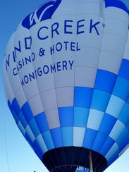 Wind Creek Montgomery's official hot air balloon, piloted
