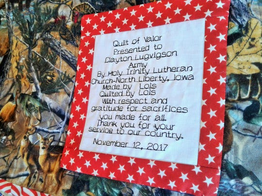 These detailed labels on each quilt were hand sewn by Marilu Kuhl. They thank and identify the honored veteran, plus list the volunteer who crafted the quilt.