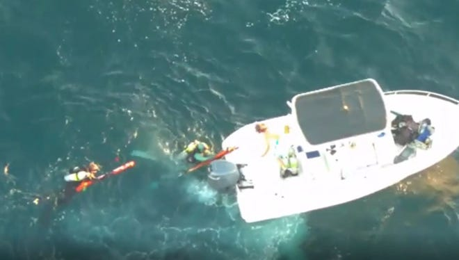 Martin County Deputies rescued two divers Saturday, after the boat captain who dropped them off was unable to find them.