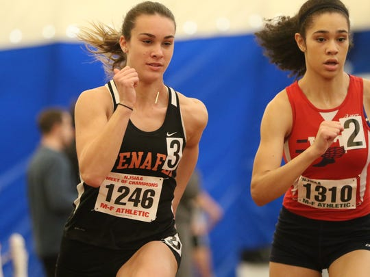 Lexi DelGizzo of Tenafly, left, is shown on her way to a 2:14 800 meters. The time earned Del Gizzo second place at the State Meet of Champions in Toms River. Sunday, February 26, 2017.