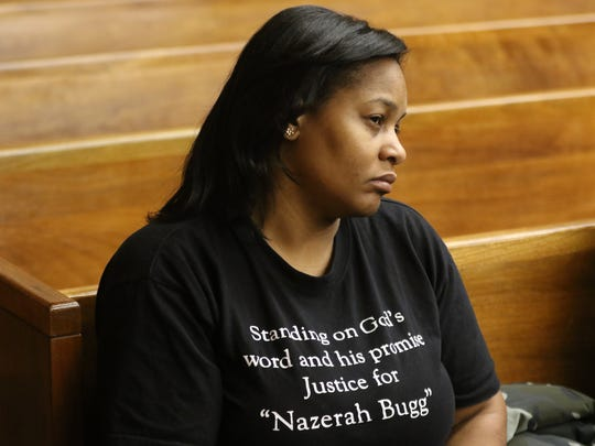 Kamilah Bugg, mother of Nazerah Bugg, is shown as she tries to listen to testimony that was replayed for the jury on Tuesday. The jury in the Tyheem Mayfield trial asked to rehear testimony and deliberated but did not come back with a verdict, Tuesday, January 23, 2018.