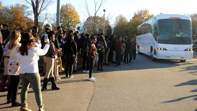 Liberty Tech cheerleaders, band members, family and fans gather to send off the Crusaders as they head to Cookeville to play in the 2016 TSSAA BlueCross Bowl.