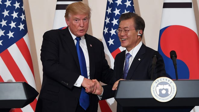 President Trump and South Korean President Moon Jae-In during Trump's visit to Asia in November.