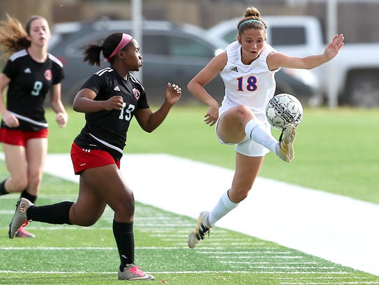 Central's Addison Bonaventure had a single-season record 27 goals, along with 12 assists, for the Lady Cats soccer team in 2017.