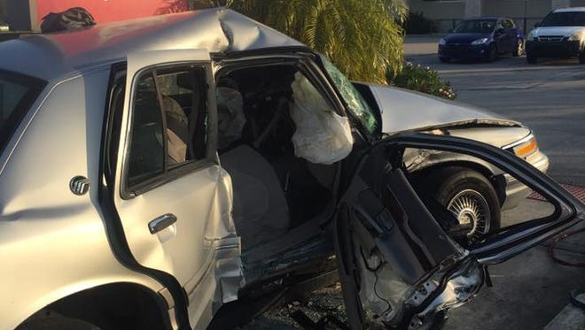A two-vehicle crash occurred Monday morning, Feb. 13, 2017 in front of the Walgreens at U.S. 1 and Veterans Memorial Parkway in Port St. Lucie.