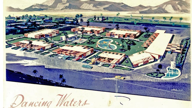 Architectural rendering of Dancing Waters hotel Rancho Mirage for H. Johnson  by Powers Daly & DeRosa. (Linda Johnson Davidson family archive)