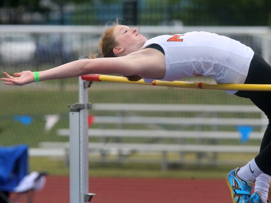 MTCS's Mackenzie Harris competes in the high jump event during TSSAA Class A-AA Girls' Track Meet, at Spring Fling on Thursday, May 25, 2017.