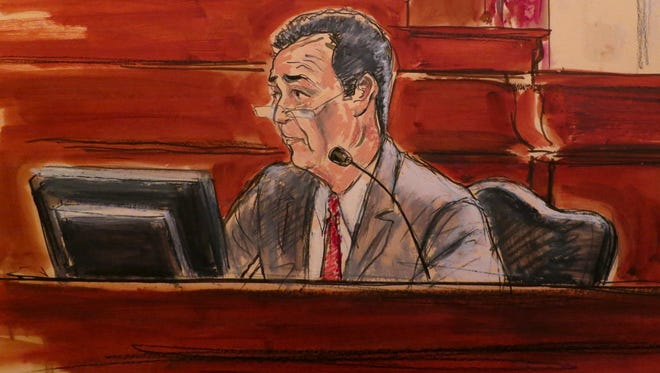 In this courtroom drawing, Frank DiPascali, a longtime employee of Bernard Madoff, takes the stand in Manhattan Federal Court on Monday, Dec. 2, 2013, in New York.