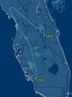 Flight Aware tracking map for Delta flight 1332.