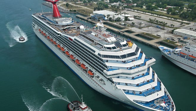 Crew members from the Carnival Glory rescued a man on Sunday who had plunged from a Norwegian Cruise Line ship.