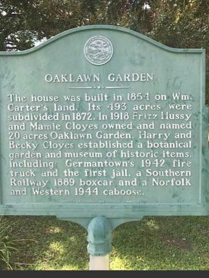 Oaklawn Garden historical marker at the entrance to the park site on the south side of Poplar Pike at the Norfolk-Southern railway crossing in Germantown