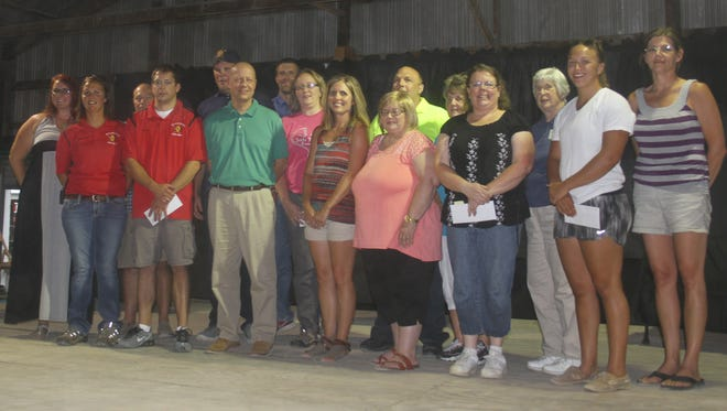 Some of the 21 recipients for Iowa County Community Foundation grants were on hand during a special ceremony Wednesday, July 12, at the Iowa County Fair.